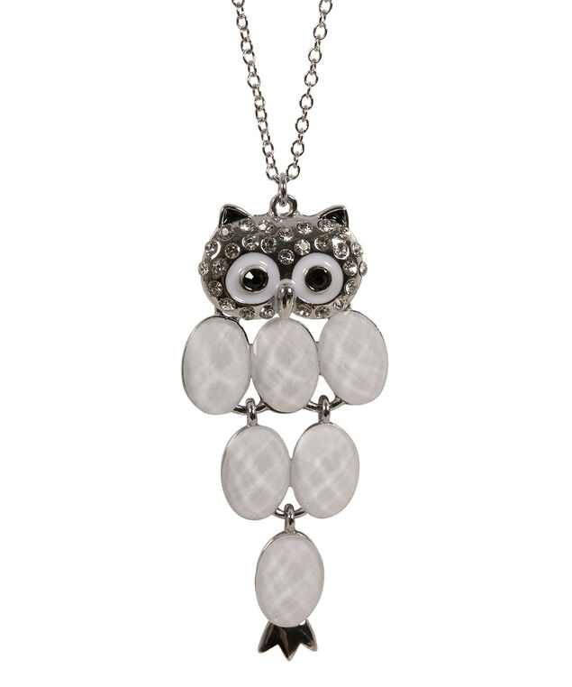 Glitter Stone Owl Pendant Necklace, White/Clear/Rhodium, hi-res