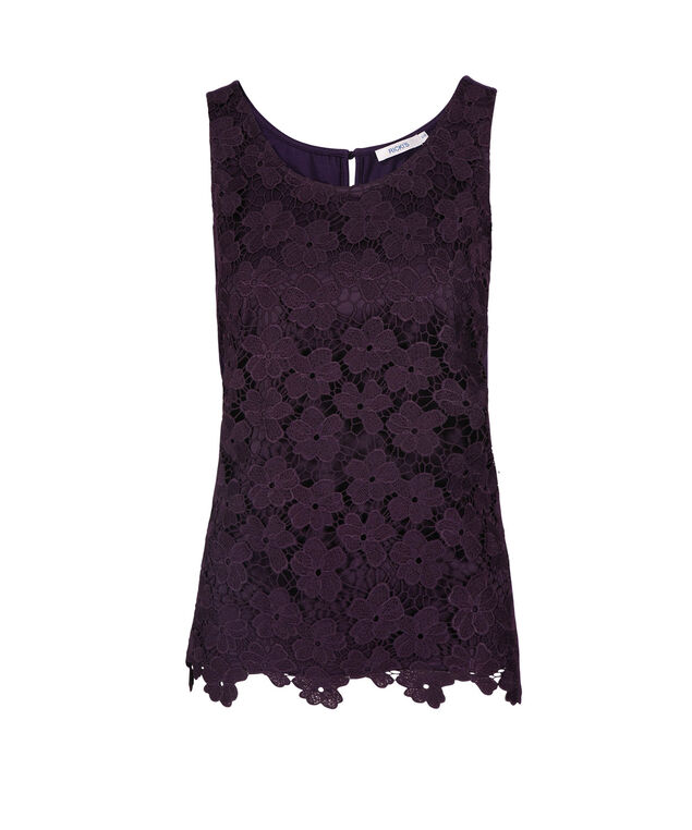 Sleeveless Crochet Lace Top, Deep Purple, hi-res