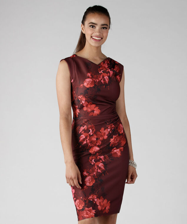 Red Romance Cowl Dress, Red Print, hi-res