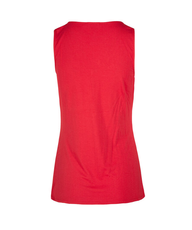 Sleeveless Tab Front Top, Red, hi-res