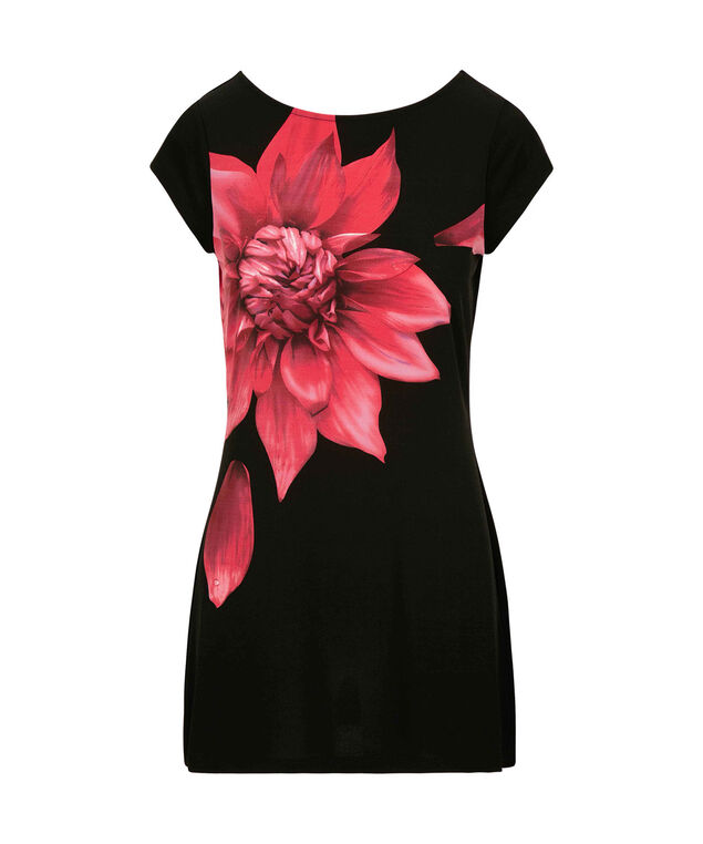 Floral Print Boatneck Tunic, Black/Red, hi-res
