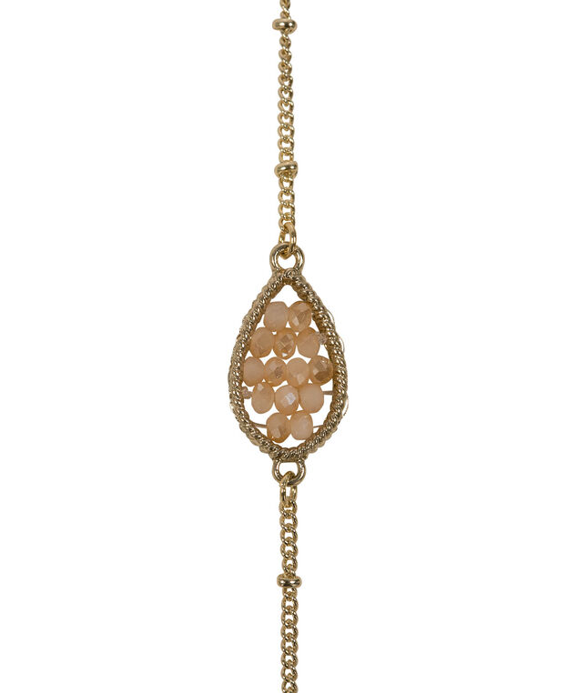 Seed Bead Teardrop Station Necklace Set, Apricot/Soft Gold, hi-res