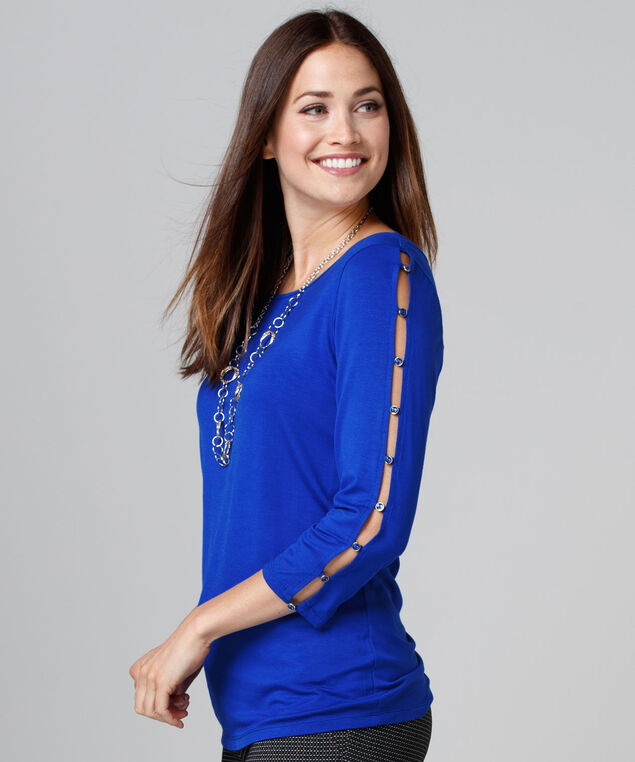 3/4 Cage Sleeve Top, Ultra Blue, hi-res