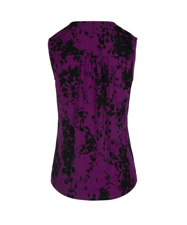 Pleated Detail Sleeveless Henley Top, Purple/Black Print, hi-res