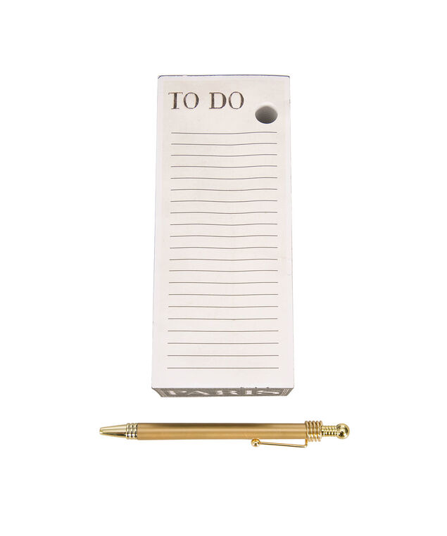 Eiffel Tower Memo Pad with Pen, Black/White, hi-res