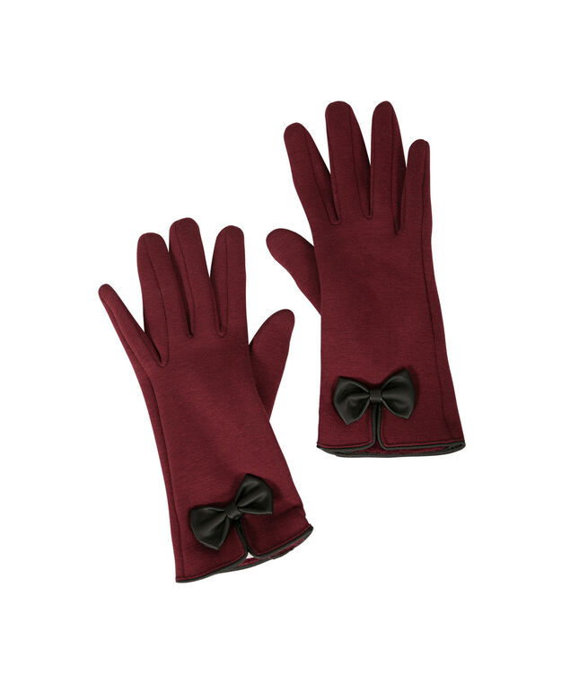 Classic Bow Gloves, Burgundy/Black, hi-res