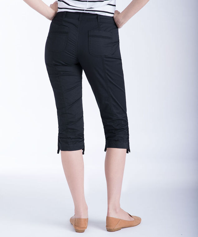Ric-Rac Trim Ruched Capri, Black, hi-res