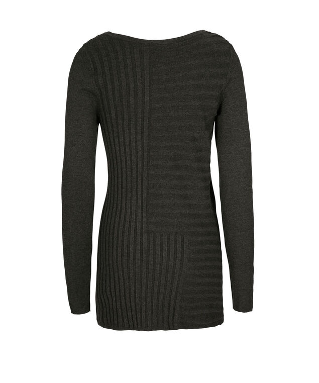 Mid Length Ribbed Pullover, Charcoal, hi-res