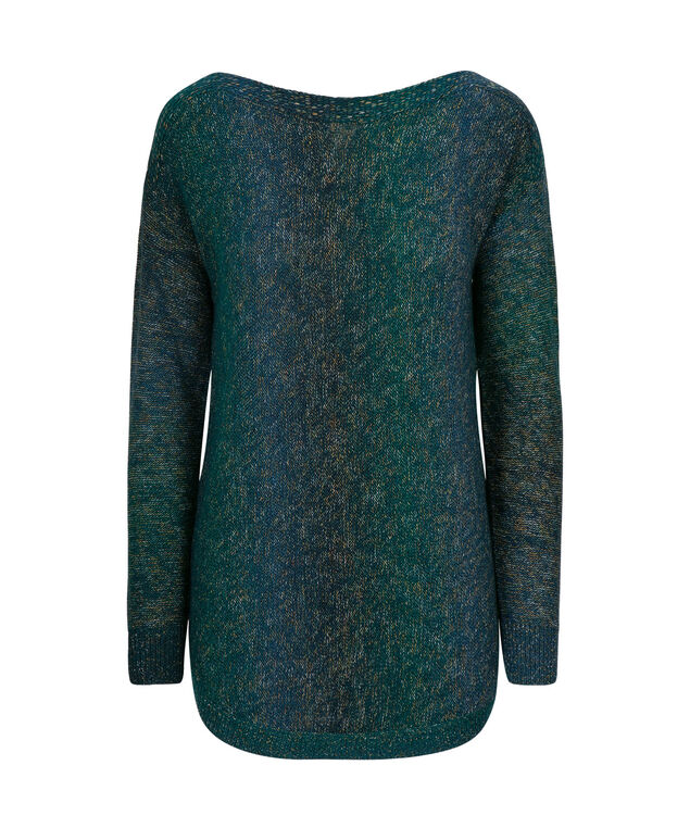 Boat Neck Pullover Sweater, Teal Mix, hi-res