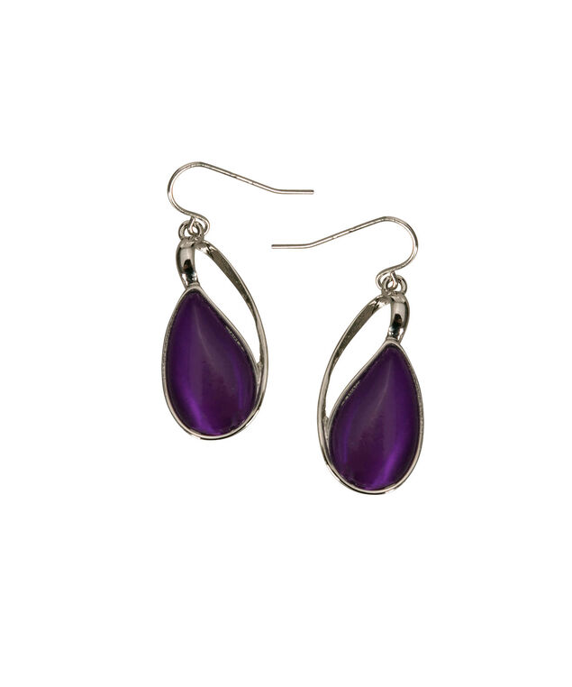Cateye Teardrop Earring, Royal Purple/Rhodium, hi-res