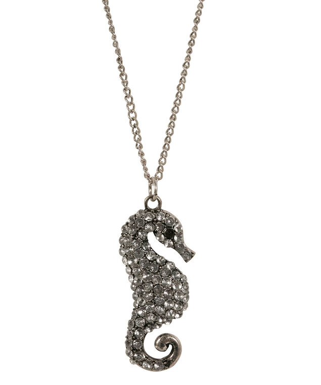 Seahorse Pendant Necklace, White/Burnished Silver, hi-res