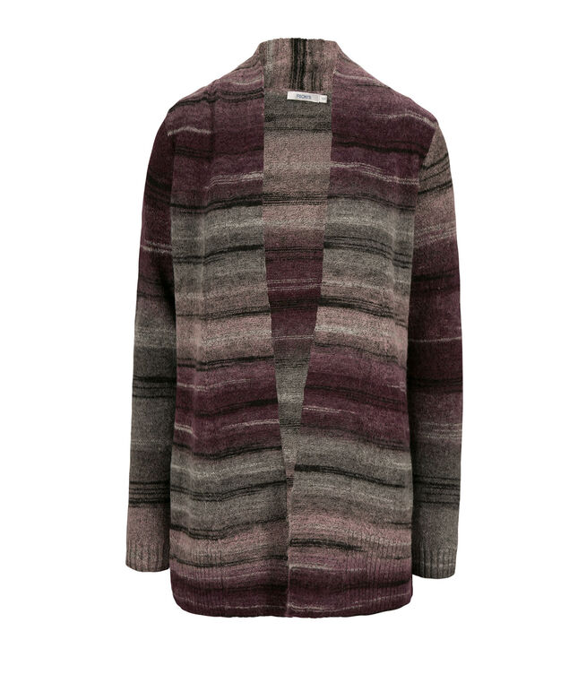 Ombre Striped Plush Cardigan, Wineberry/Rose, hi-res