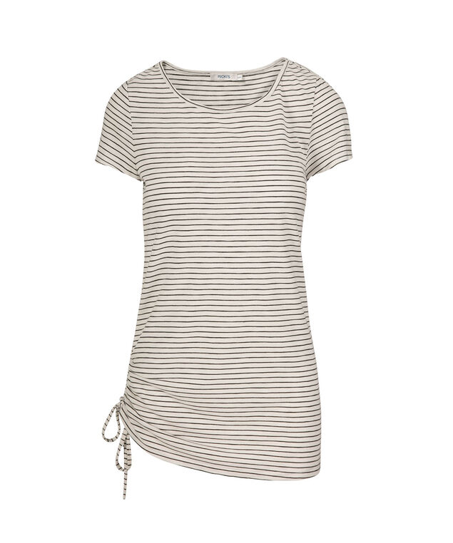Side-Tie Long Striped Tee, Milkshake Stripe, hi-res