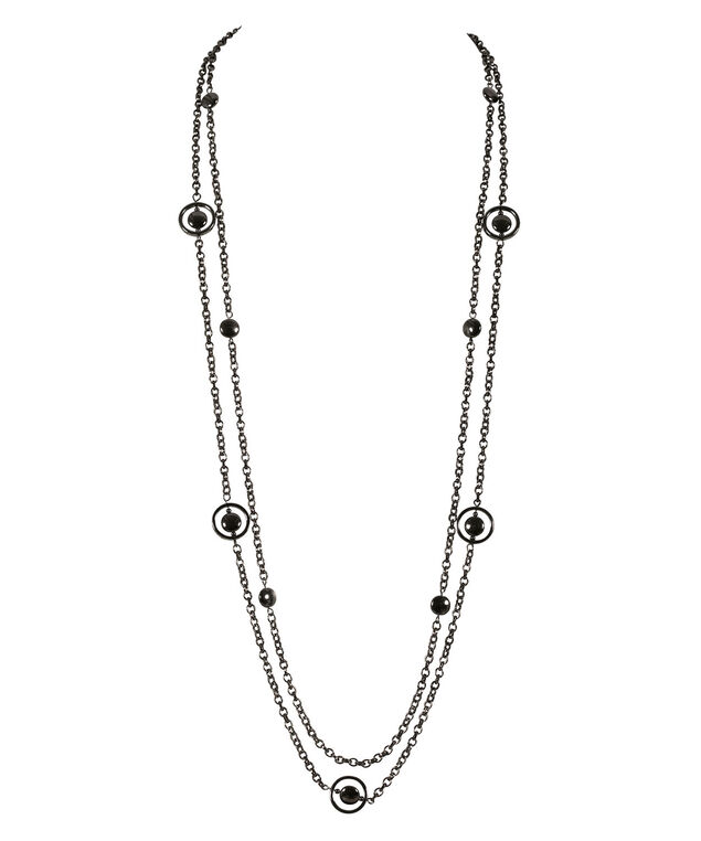 STATIONED RING NECKLACE, Hematite, hi-res