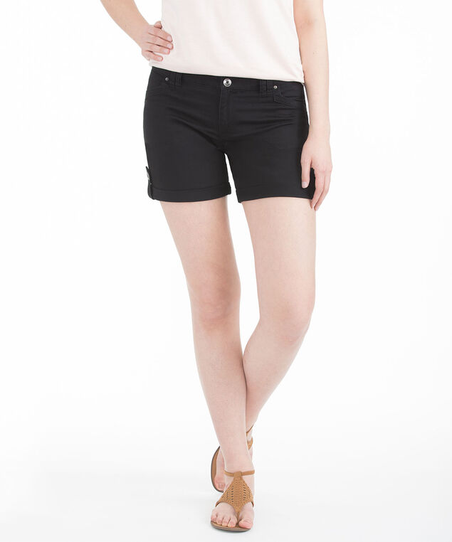 Twill Roll Cuff Short, Black, hi-res
