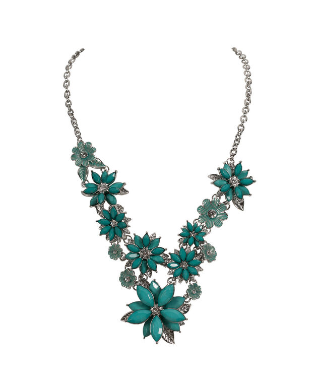 Stationed Flower Statement Necklace, Peacock Green/Rhodium, hi-res