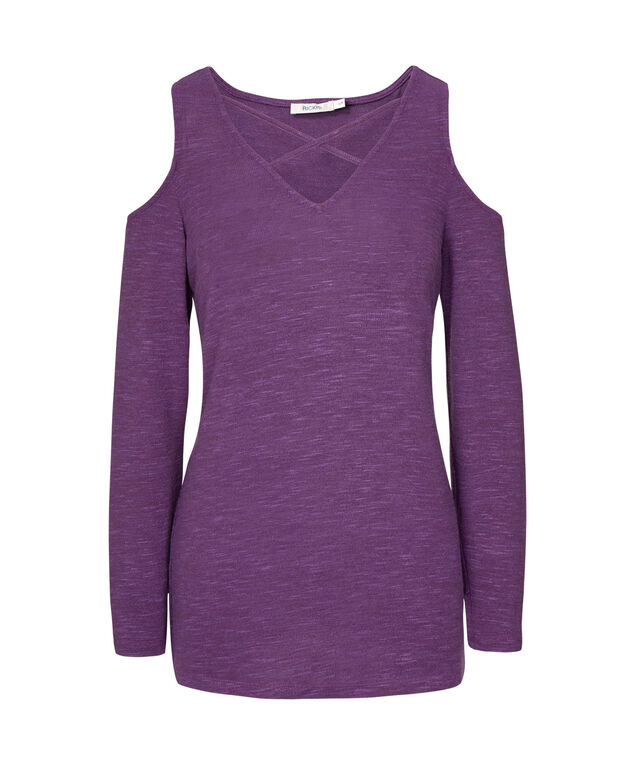 Cross Front Cold Shoulder Top, Grape, hi-res