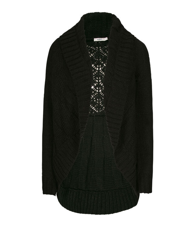 Crochet-Back Circle Cardigan, Black, hi-res