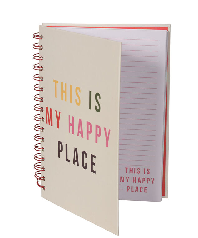 """This Is My Happy Place"" Spiral Notebook, Milkshake/Ruby, hi-res"