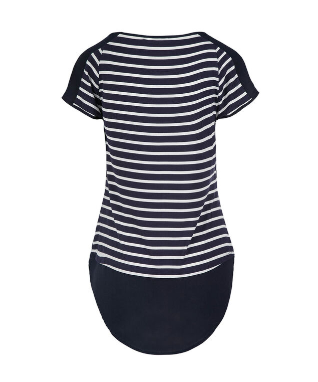 Short Sleeve Chiffon Trim Top, Navy Stripe, hi-res
