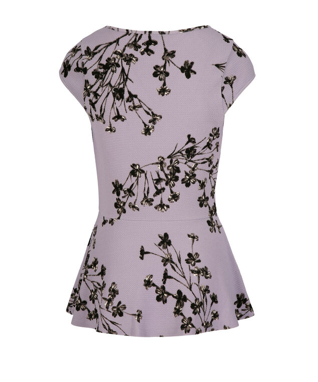 Cap Sleeve V-Neck Peplum Top, Lavender Pattern, hi-res