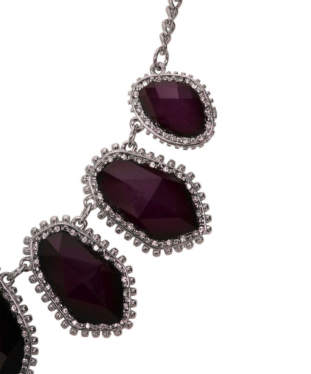 Faceted Stone Statement Necklace, Port/Rhodium, hi-res