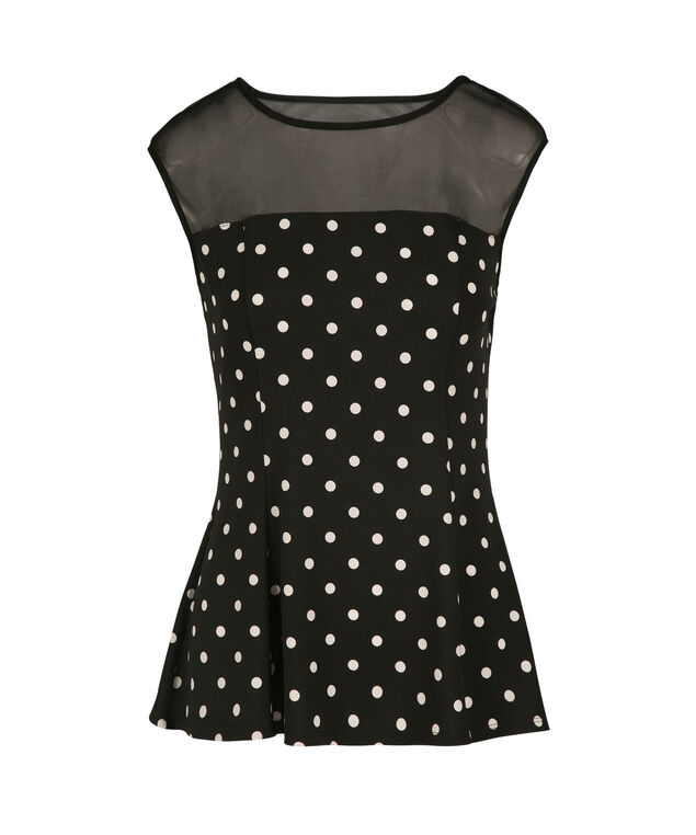 Polka Dot Illusion Neck Peplum Top, Black/White Dot, hi-res