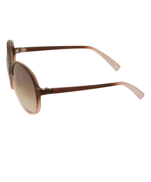 Round Ombre Sunglasses, Brown, hi-res
