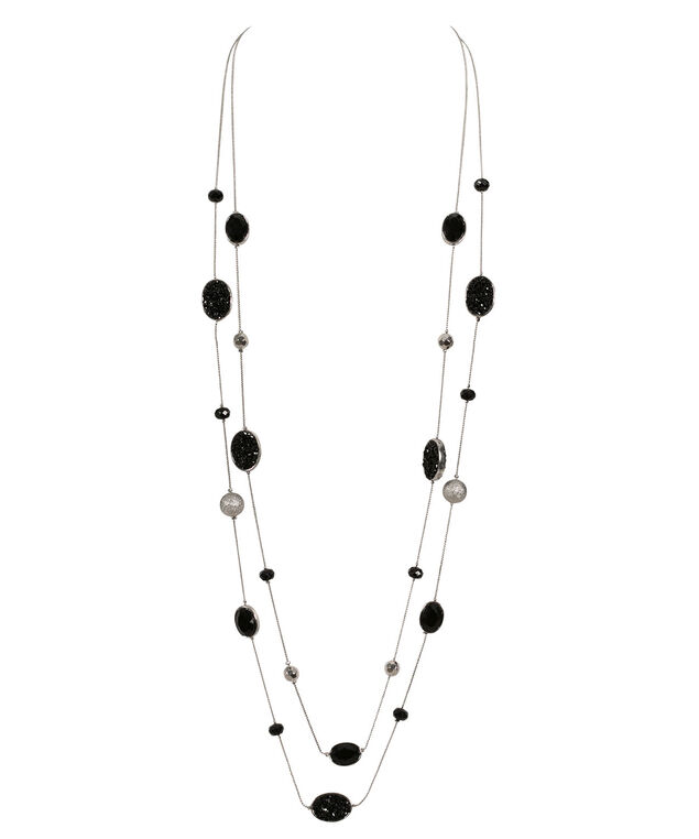 Double Strand Stationed Stone, Crystal & Bead Necklace, Black/Silver/Rhodium, hi-res