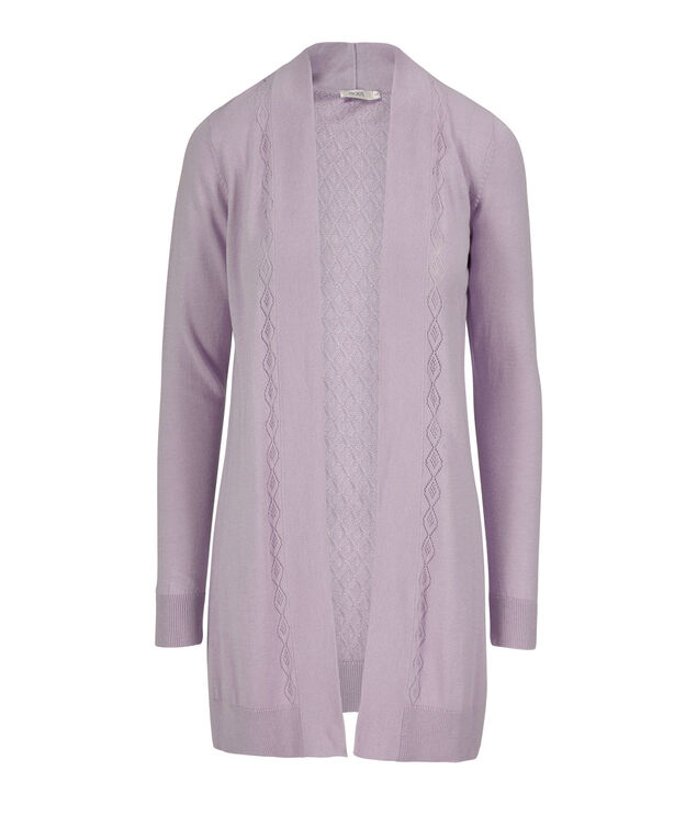 Pointelle Trim Open Tunic Cardigan, Lavender, hi-res
