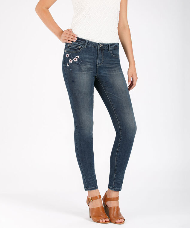 Ultra Soft Slim Leg Embroidery Jean, Denim, hi-res