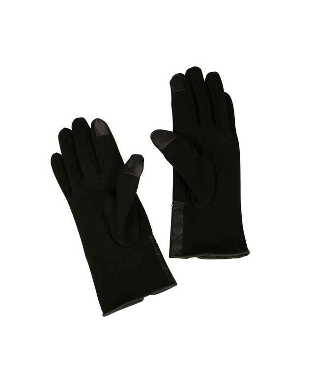 Quilted Cuffed Texting Gloves, Black, hi-res