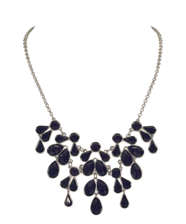 Faceted Teardrop Statement Necklace, Navy/Rhodium, hi-res