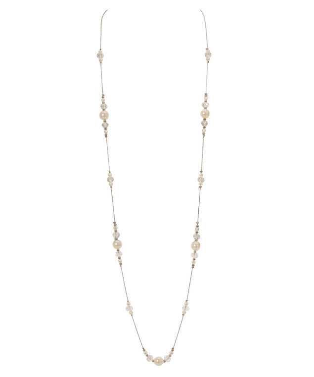 Long Stationed Pearl & Crystal Necklace, White/Clear/Rhodium, hi-res