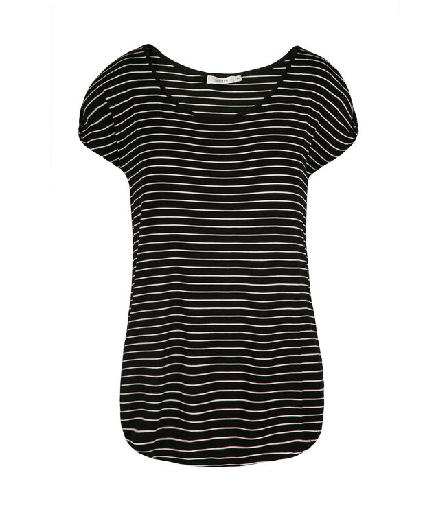 Twisted Cold Shoulder Top, Black/White Stripe, hi-res
