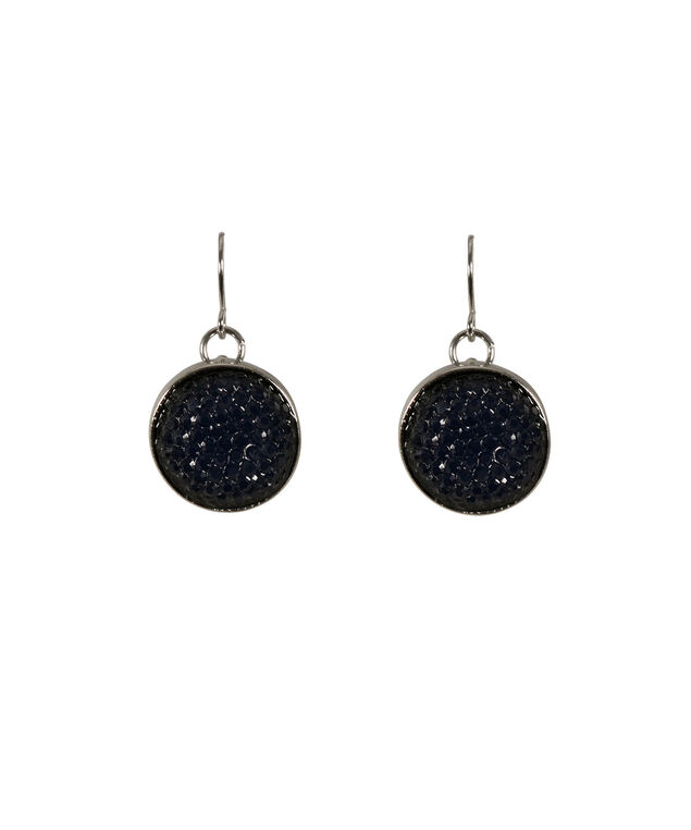 Caviar Beaded Earring, Dark Cobalt/Hematite, hi-res