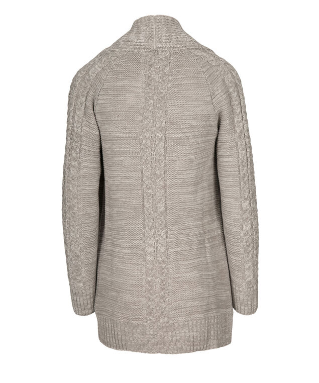 Shaker Stitch Open Cardigan, Grey, hi-res