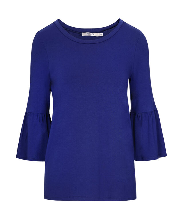 Bell Sleeve Top, Cobalt, hi-res