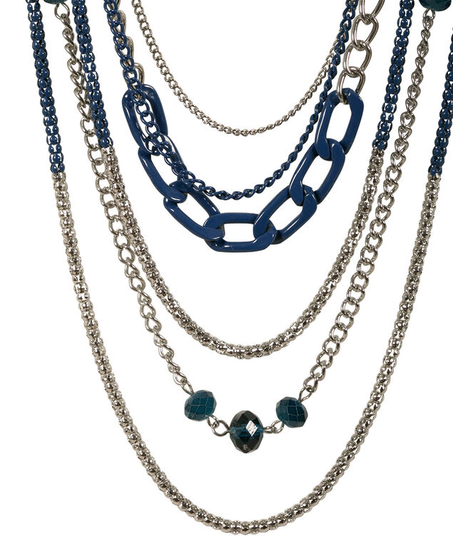 Coloured Chain Necklace, Deep Teal/Rhodium, hi-res
