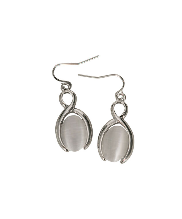 White Oval Cateye Earring, White/Rhodium, hi-res