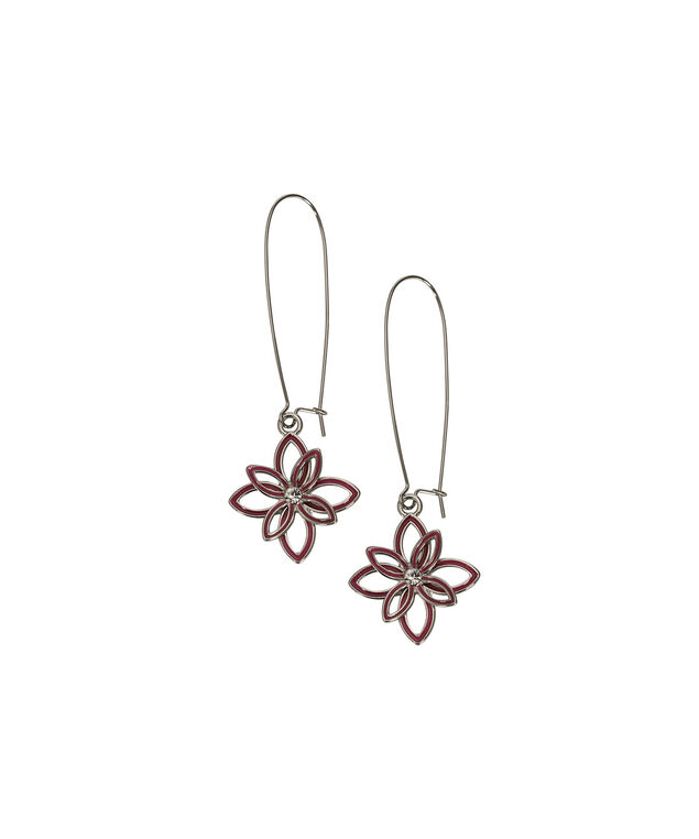 Flower Drop Earring, Hot Pink/Rhodium, hi-res