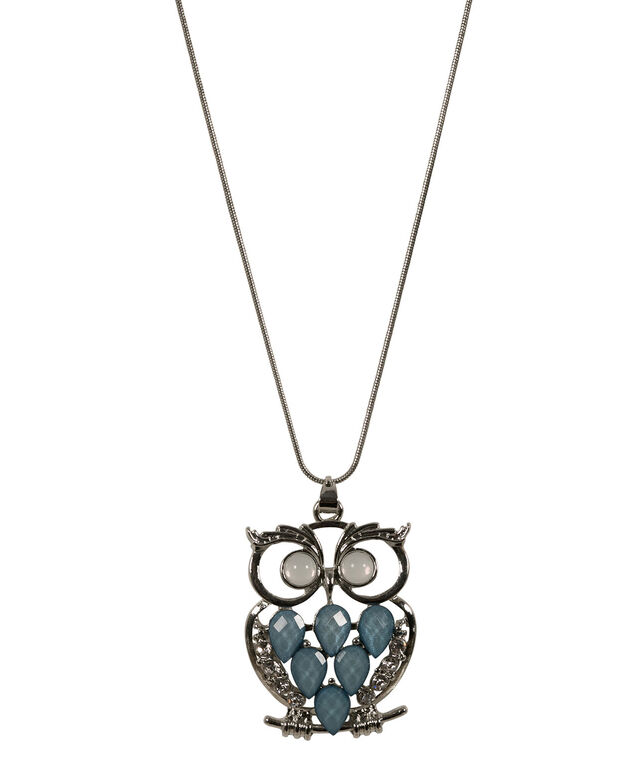 Glitter Stone Owl Necklace, Icy Blue/Hematite, hi-res