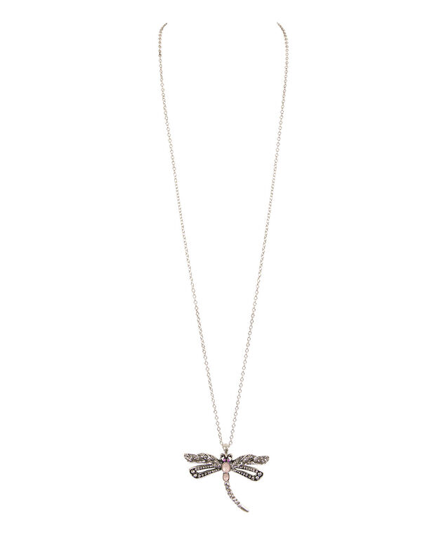 Dragonfly Pendant Necklace, Soft Peach/Brushed Silver, hi-res