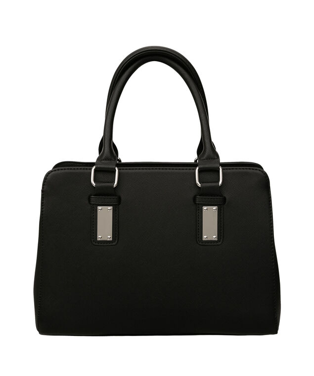 Black Saffiano Satchel, Black/Nickel, hi-res