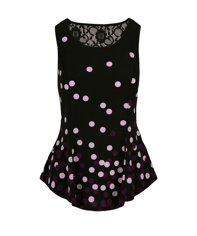 Lace Back Peplum, Black Print, hi-res