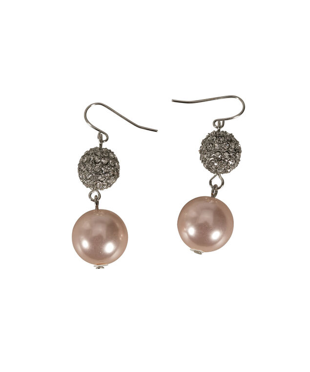 CRYSTAL CLUSTER AND PINK PEARL DROP EARRING, Pink/Rhodium, hi-res
