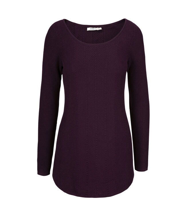 Multi Rib Tunic Pullover, Blackberry, hi-res