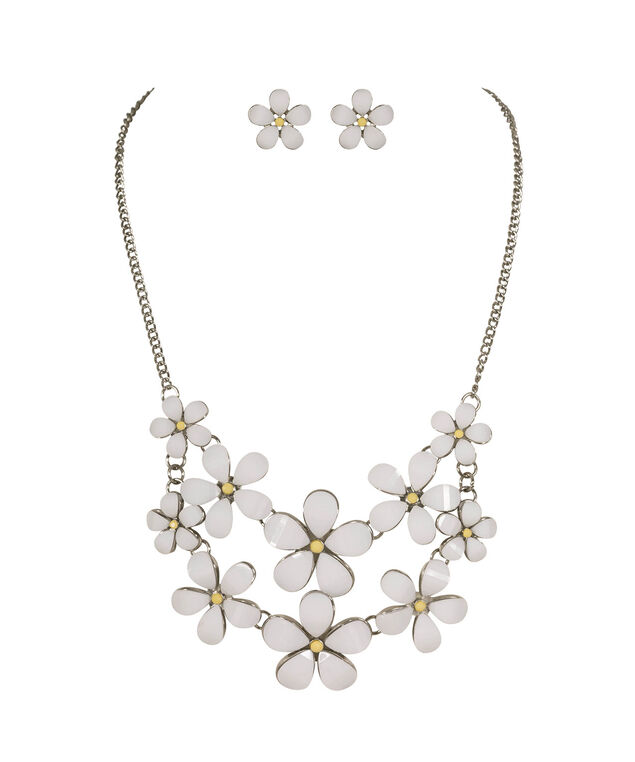Daisy Statement Necklace Set, White/Yellow/Rhodium, hi-res