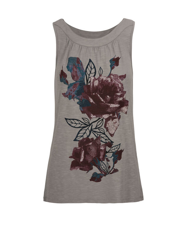 Boat Neck Tank, Purple Print, hi-res