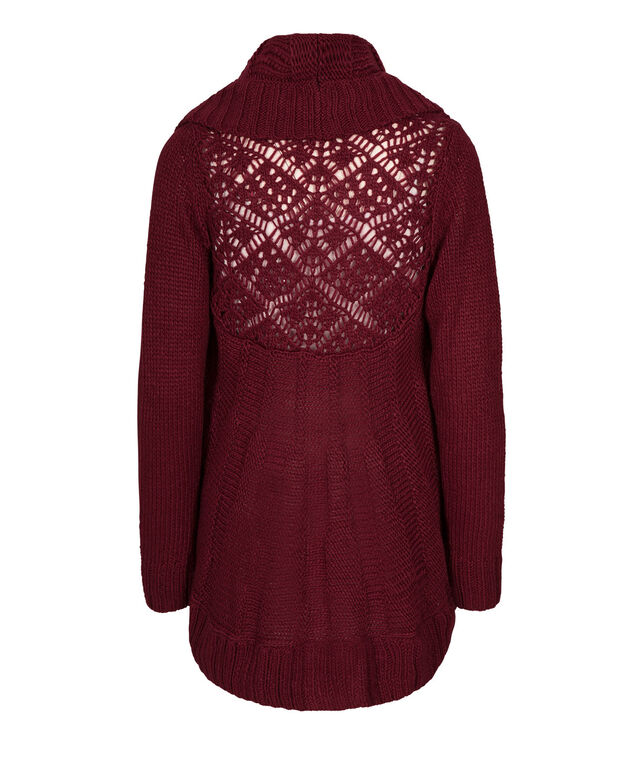 Crochet-Back Circle Cardigan, Cranberry, hi-res